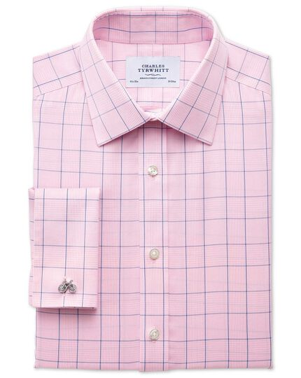 Slim fit non-iron Prince of Wales check pink and blue shirt ...
