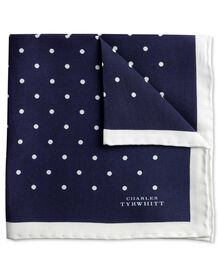 Navy and white silk spot classic pocket square