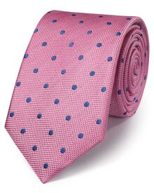 Pink and blue silk classic spot tie