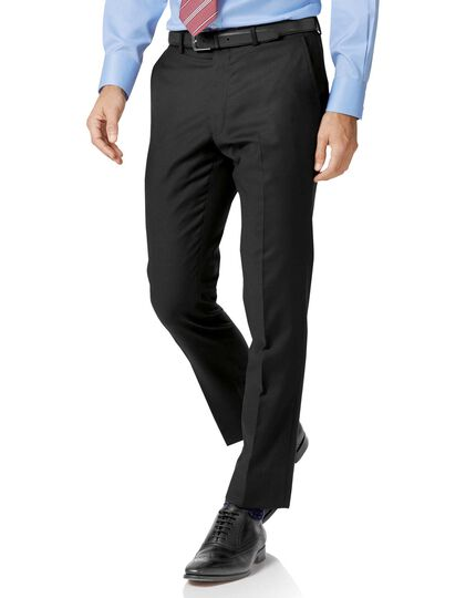 Black slim fit twill business suit trousers | Charles Tyrwhitt