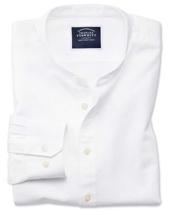 Men 39 s casual shirts charles tyrwhitt for Collarless white shirt slim fit
