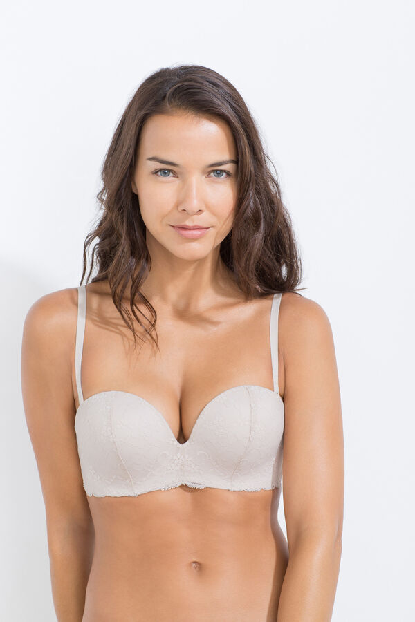 Lace and mesh super push up strapless bra | Strapless | Women'secret